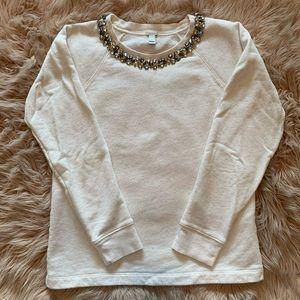 J. Crew Jeweled Neck Cream Sweatshirt Size S